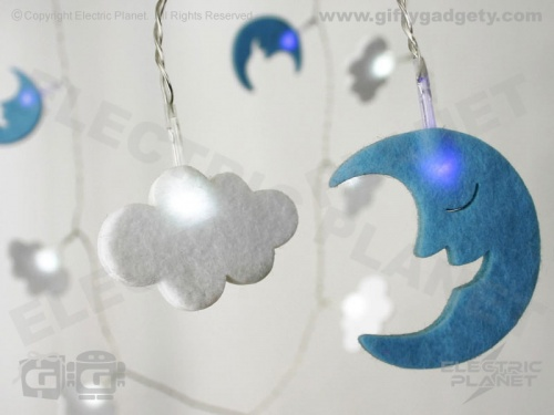 Moon & Cloud LED Felt Stringlights