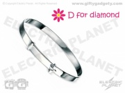 D For Diamond Silver Cross Bangle