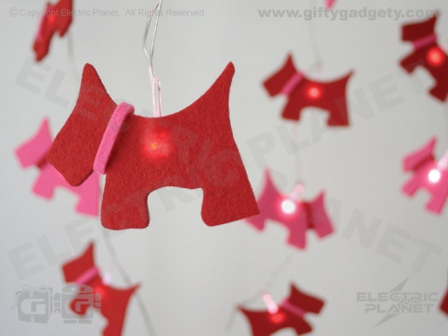 Scottie Dog Felt LED Stringlights