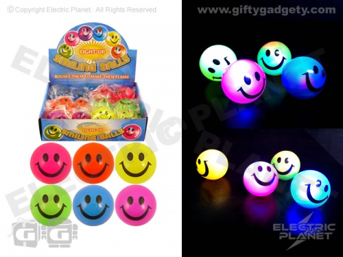 Flashing Smiley Bouncy Balls x 12