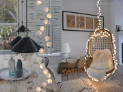 White LED Pom-Pom String Lights